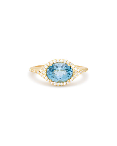 Aladdin London Blue Topaz & Diamond Ring in 18K Gold