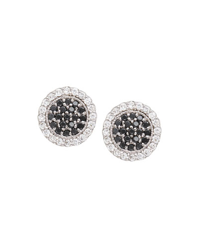 Scallop Pave Black & White Diamond Earrings