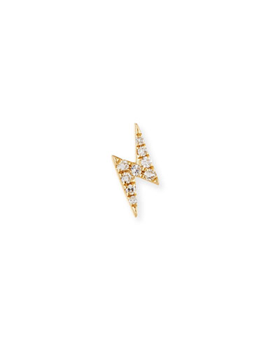 Mini Diamond Lightning Bolt Single Stud Earring