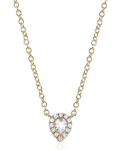 White Topaz & Diamond Teardrop Necklace