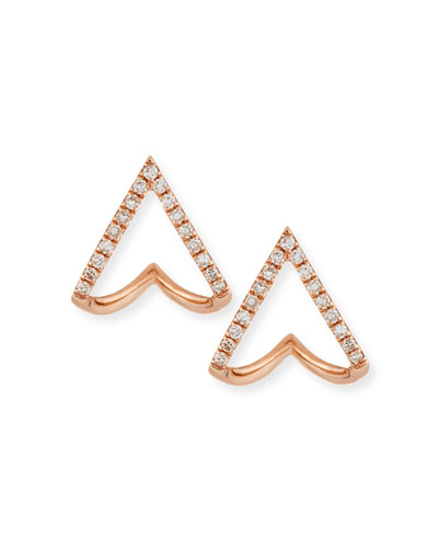 14K Gold Mini Chevron Wrap Stud Earrings with Diamonds