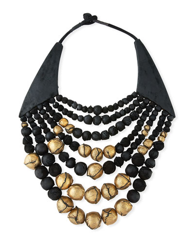 Multi-Strand Beaded Leather Collar Necklace