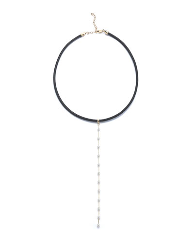 Leather Collar Necklace with Pearl Chain