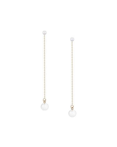 Double-Pearl Chain Drop Earrings