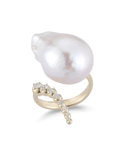 Curved Baroque Pearl & Diamond Ring in 14K Gold, Size 7