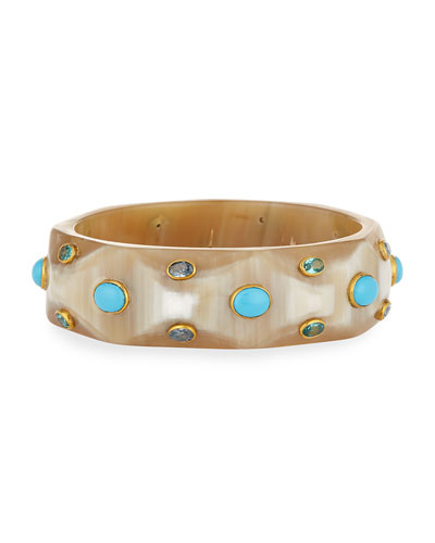 Tabaka Light Horn Bangle with Blue Spinel & Topaz