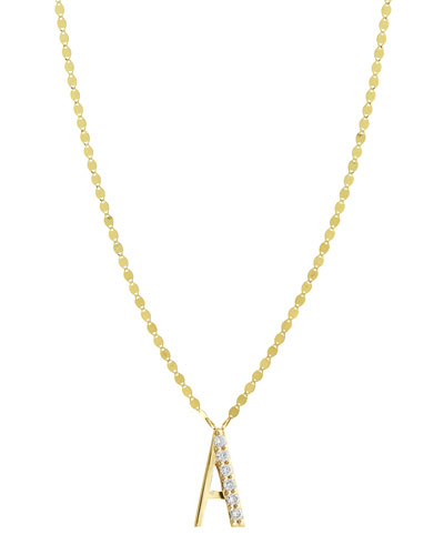 Initial 14K Gold Pendant Necklace with Diamonds