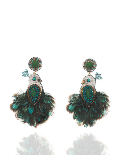 Beaded Tassel Drop Clip-On Earrings, Emerald