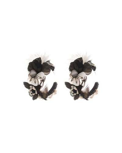 Feather-Embellished Hoop Earrings, Black/White