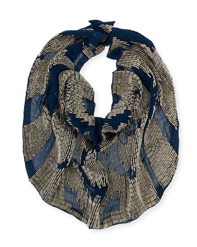 Le Charlot Ikat Beaded Silk Chiffon Scarf Necklace, Navy