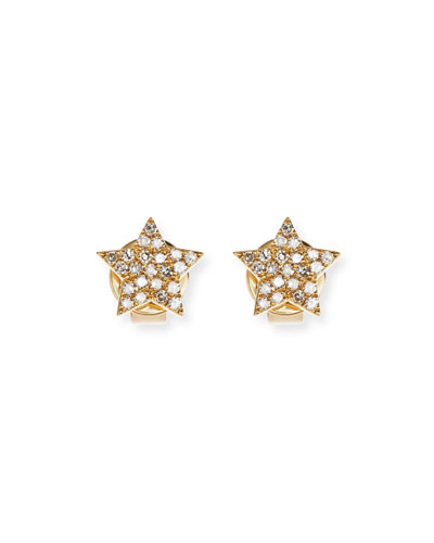 Pavé Diamond 14K Gold Star Stud Earrings