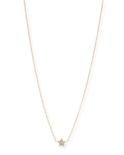Diamond Star Charm Necklace in 14K Yellow Gold