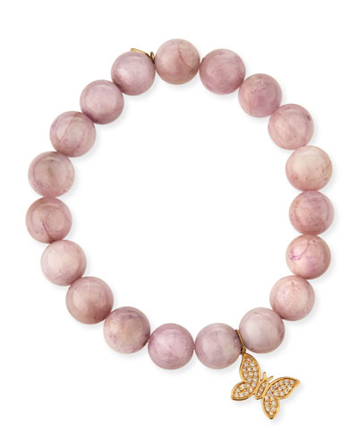 Round Kunzite Beaded Bracelet with Diamond Butterfly Charm