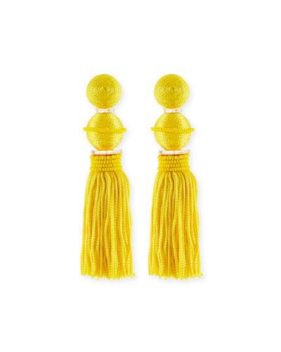 Beaded Ball Tassel Clip-On Earrings