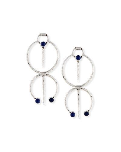 Double Hoop Drop Clip Earrings w/ Blue Enamel