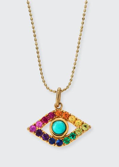 Large Evil Eye Rainbow Sapphire Pendant Necklace