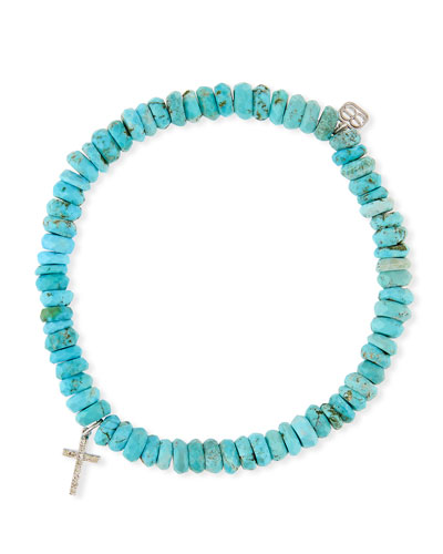 14k Turquoise Beaded Stretch Bracelet w/ Cross Charm