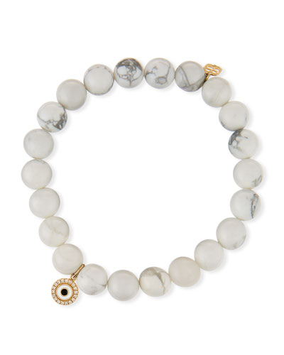 14k Howlite Beaded Stretch Bracelet w/ Evil Eye