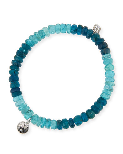 14k Apatite Beaded Stretch Bracelet w/ Diamond Yin Yang