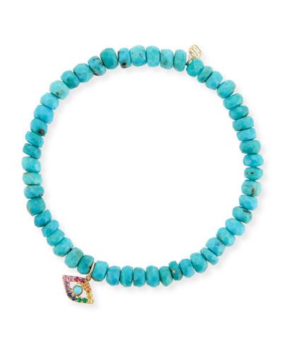 4mm Turquoise Beaded Bracelet with Rainbow Eye Charm