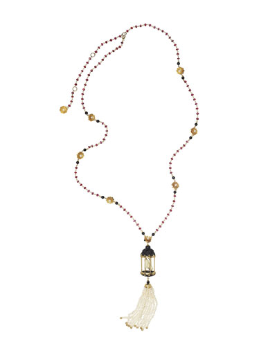 Aviary Tassel Necklace with Ebony & Red Agate