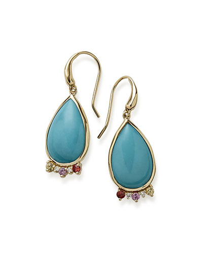 Prisma Dots Turquoise Teardrop Earrings with Sapphire & Diamonds