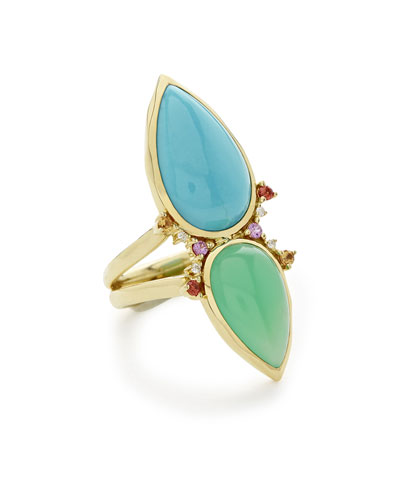 Prisma Dots Double-Stone Ring in Portofino, Size 7