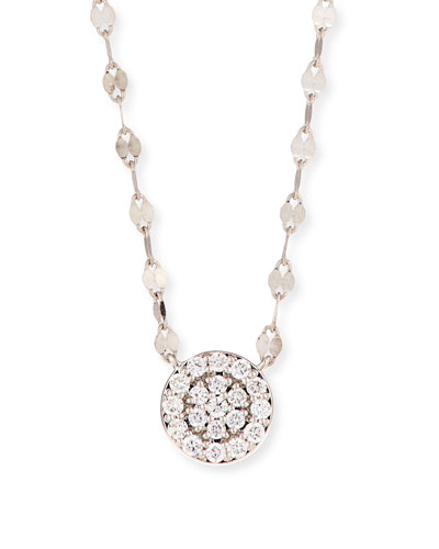 14k Flawless Diamond Pavé Disc Pendant Necklace