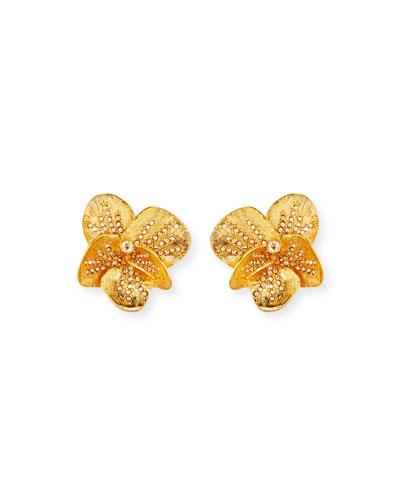 Brushed Swarovski Crystal Clip-On Earrings