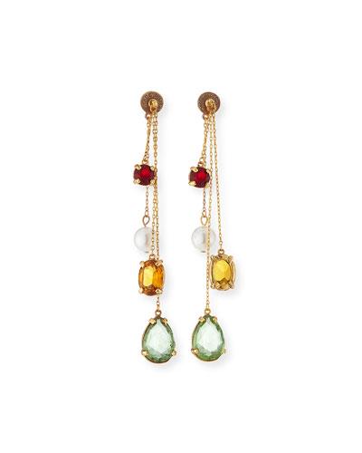 Oscar De La Renta Delicate Chain Swarovski Crystal Drop Earrings g2dsJmmB
