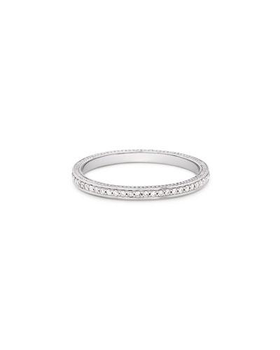 18k Thin Diamond Pave Band Ring