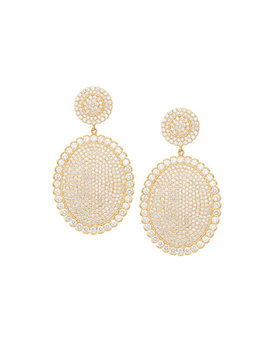 18k Scalloped Diamond Pave Oval Drop Earrings