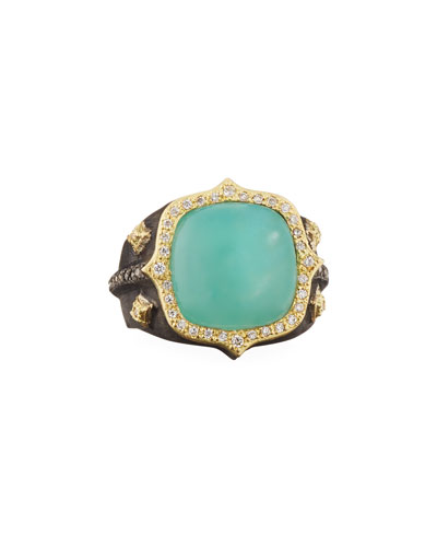 18k Old World Aquaprase™ & Diamond Ring