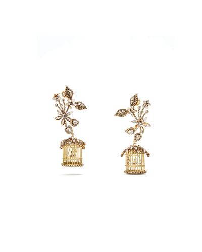 24k Swarovski Crystal Birdcage Earrings