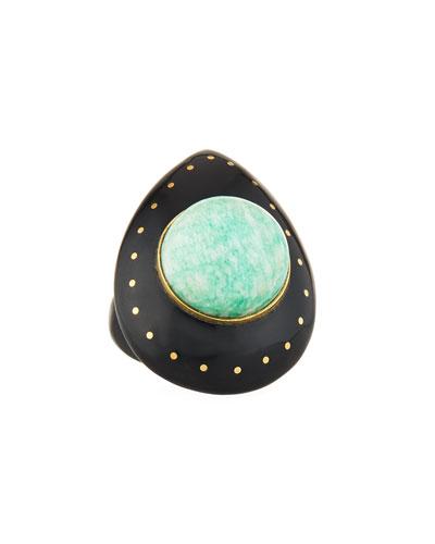 Mageuzi Teardrop Dark Horn & Turquoise Ring