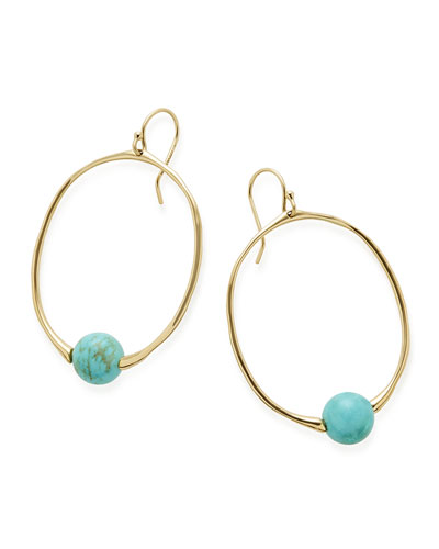 18k Nova Oval Drop Earrings in Turquoise