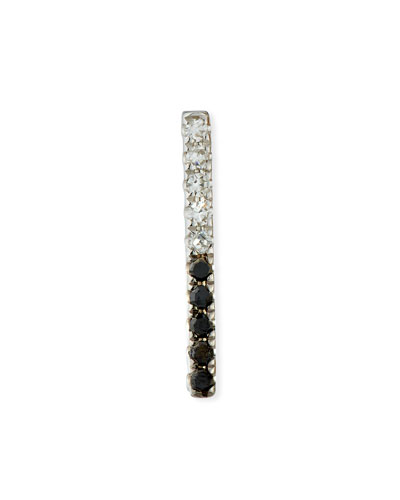14k Black & White Diamond Bar Single Stud Earring