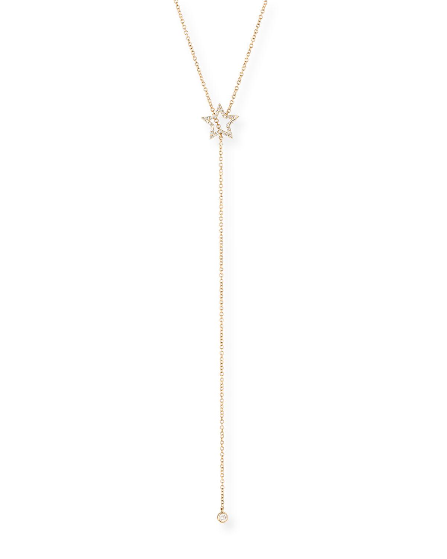 EF Collection 14k Diamond Open Star Lariat Necklace DfT4qK