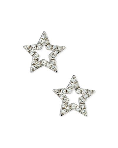 14k Diamond Open Star Stud Earrings