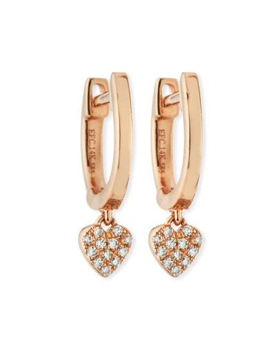14k Mini Huggie Diamond Heart Drop Earrings