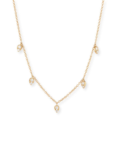 14k Multi-Teardrop Diamond Necklace