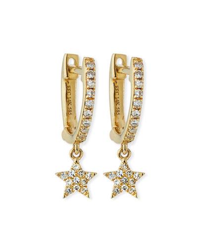 14k Mini Huggie Diamond Star Drop Earrings
