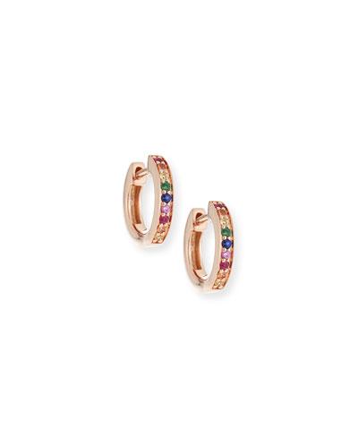 14k Rainbow Sapphire Huggie Hoop Earrings