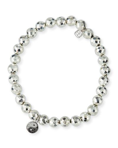 Pyrite Bead Bracelet w/ 14k Yin Yang Charm