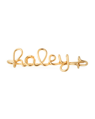 Personalized 10-Letter Wire Brooch, Yellow Gold Fill