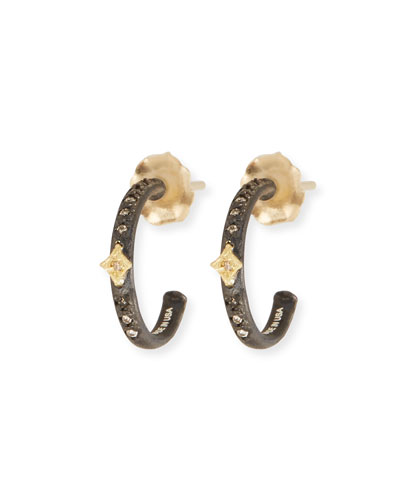 Old World Midnight Mini Diamond Huggie Hoop Earrings