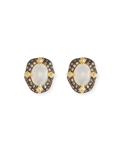 Old World Stone Stud Earrings, White Aquaprase™