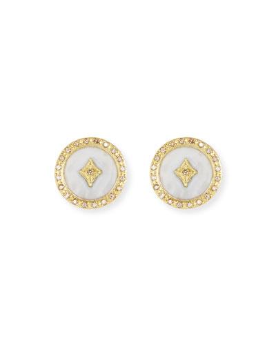 Old World 18k Enamel Diamond Star Stud Earrings