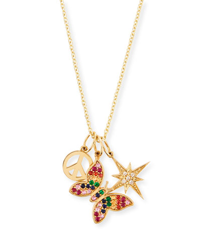 14k Peace, Butterfly & Starburst Trio Pendant Necklace