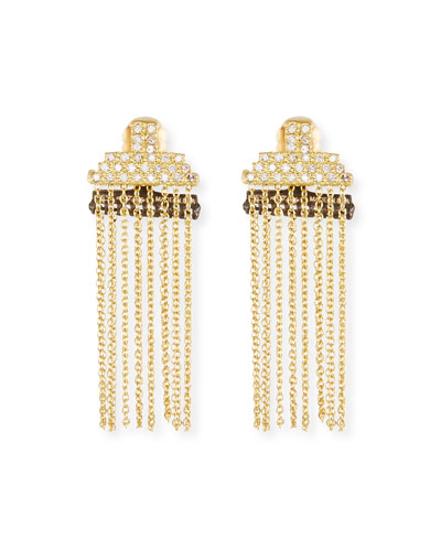 Old World Petite Stacked Bar Chain Earrings w/ Diamond Pavé